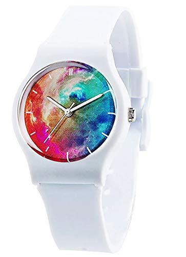 Arco Iris Flor Reloj de Pulsera para niña y niño,30 m Resistente al Agua Reloj Regalos para Niños (Blanco Estrellado)