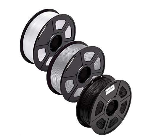 PLA Filament 1.75 PLA+ 3D Filament PLA Plus for 3D Printer & 3D Pens, PLA Filament Weight 2.2 LBS (1 KG), Printing Accuracy +/- 0.02 (Black+Grey+White)