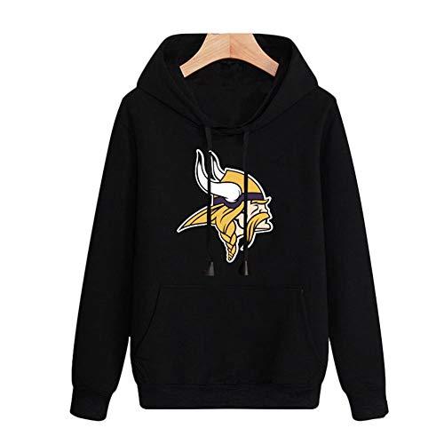 FWHACMT NFL Heren Hoodies Minnesota Vikings Jeugd Pullover Hooded Sweatshirt Zwart Blauw Casual Logo Fan Effen Gekleurde Lange Mouw Hoodie Blouse Truien Top Tracksuit Unisex Tieners Vrouwen