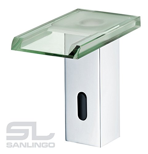 Sanlingo – Infrarot-Sensorarmatur, Temperaturregler, Batteriebetrieb, Wasserfall, LED-Beleuchtung, Chrom-Glas - 2