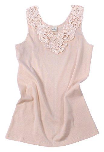 Camiseta para mujer, de algodón peinado con encaje extragrande, sin costuras laterales Multicolor color carne