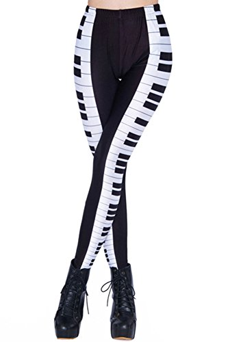Sister Amy Women's High Waist Black/White Piano Key Digital Printted Ankle Elastic Tights Legging