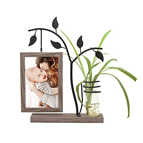 Afuly Holz Bilderrahmen 10x15 cm Doppelseitig Fotorahmen mit Vase & Metall Baum Braun Familie Geschenk