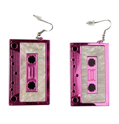 MIAIULIA Cassette Tape Dangle 1980s Style Costume Earring Lilac Tape