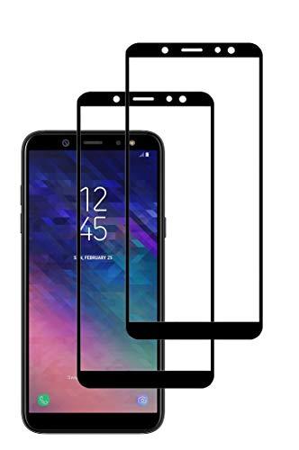 TECHKUN verre trempé pour Samsung Galaxy A6 2018 ,[2 pièces] Film Protection écran Full Sreen ,Noir