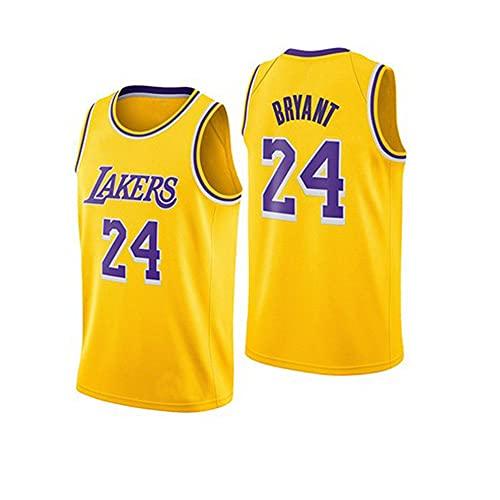 Camiseta de Baloncesto Chaleco Hombre NBA Basketball Lakers No. 24 Jersey Cuello Redondo Casual Amarillo Camisetas de Media Manga, XXL