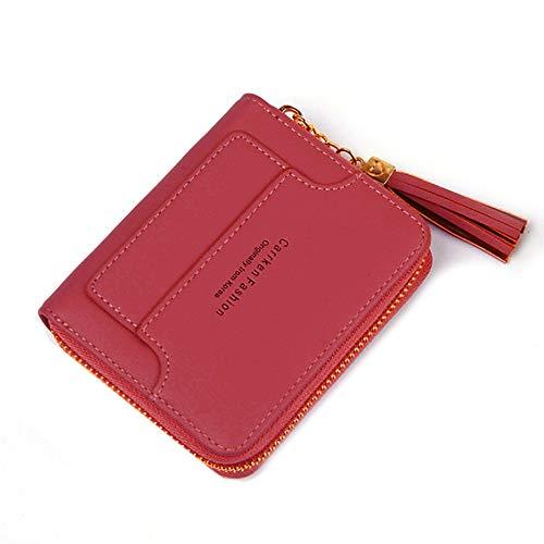 Monedero para Mujer Billetera pequeña y compacta Bifold, Burse Credit Card Holder Mini Coin Pocket, Rojo