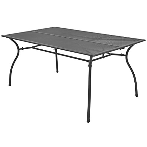 Festnight Rectangular Dining Table Powder-Coated Steel Frame Outdoor Patio Garden Black Table Mesh Design Indoor and Outdoor Furniture 59 x 35.4 x 28.3 Inches (L x W x H)