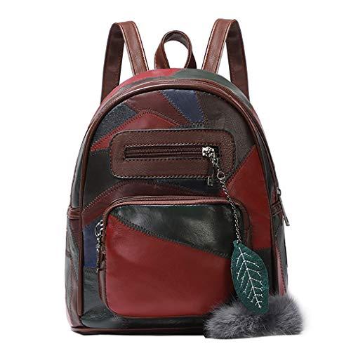 Tefamore Bolsos Mochila Mujer Bolsos de Hombro Salvaje Bolsos Fiesta Mujer Bolso de Viaje Color Patchwork Casual Backpack (Café)