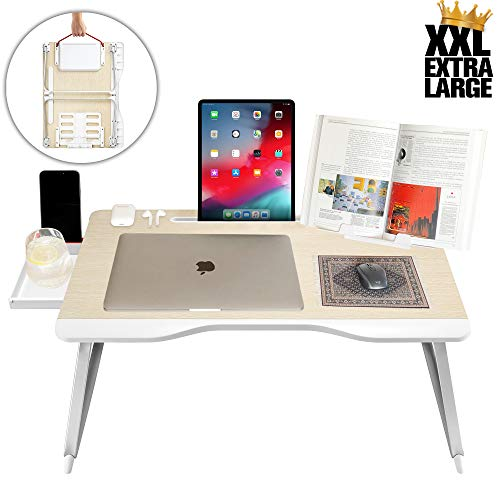 Cooper Cases Cooper Table Mate [Folding Laptop Desk for Bed & Sofa] Couch Table Bed Desk for Laptop Writing Study Eating | Storage Reading Stand (White Oak)