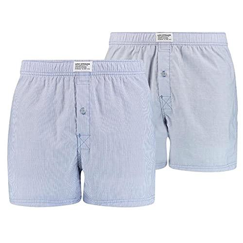 Levi's Levis Mens Woven Boxer Boxershorts, Light Blue, Large (2er Pack)