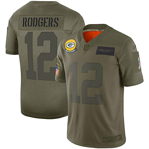 Nike Aaron Rodgers Green Bay Packers NFL Boys Youth 8-20 Salute to Service Green Camo On-Field Jersey (Youth Medium 10-12)