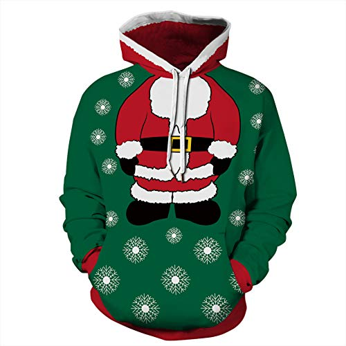 Yidarton 3D Funny Christmas Hoodie Printed Sweatshirt Ugly Sweater Long Sleeve Tops with Pocket for Men Women (Green, XL)