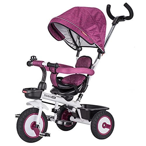 BSWL 4-En-1 Triciclo para Niños, Asiento De Dirección Bilateral, Bicicleta para Niños Y Cochecito, Adecuado para Niños De 1 A 6 Años,Púrpura