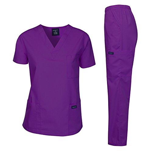 Dagacci Medical Uniform Woman and Man Scrub Set Unisex Medical Scrub Top and Pant, Purple, S