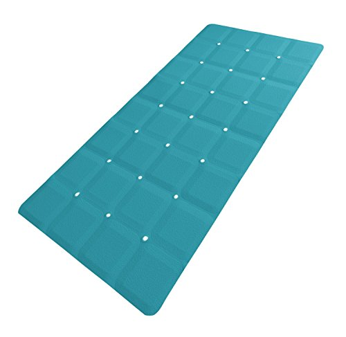 Sultan's Linens Foldable Non Slip Rubber Bath Mat for Textured Tub and Reglazed Tub (29-inch x 14-inch, Teal)