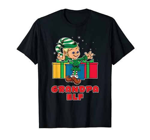 Pijama Familia Feliz Navidad a juego con elfo abuelo Camiseta