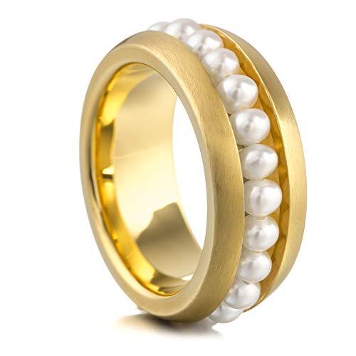 Heideman Ring Damen aus Edelstahl Gold farbend matt Damenring für Frauen mit Swarovski Perle Weiss Perlenkette 3mm