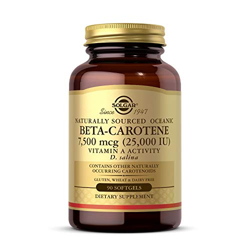 Solgar Oceanic Beta-Carotene 25,000 IU, 90 Softgels - Healthy Vision, Skin & Immune System, Potent Antioxidant - 100% Natural Pro-Vitamin A - Gluten Free, Dairy Free - 90 Servings