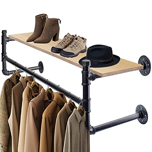 Soporte de pared industrial retro para colgar ropa, estantes de madera, fácil montaje, para cocina, baño, dormitorio, gran capacidad de carga