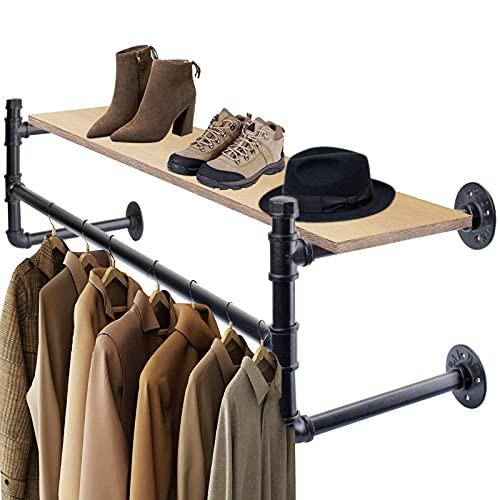 Soporte de pared industrial retro para colgar ropa, estantes de madera, fácil...