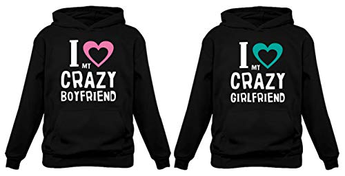 Girlfriend & Boyfriend Funny Matching Couples Hoodies Woman Black Medium / Man Black X-Large