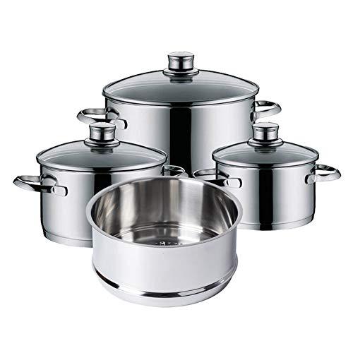 Juego de ollas de acero inoxidable, juego de 12 piezas para cocinar al vapor, sartén, cuchillas de acero inoxidable para satisfacer las diferentes necesidades de la cocina
