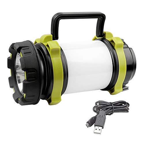 AROMUJOY Campinglampe LED Handscheinwerfer, USB Wiederaufladbare Camping Laterne Dimmbare Taschenlampe mit Warnlicht Wasserdicht 3000mAh Power Bank für Camping,Abenteuer,Wandern,Angeln,Notfall
