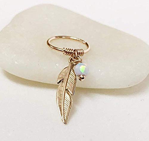 FloweRainboW Feder Ohrring Helix Ring Opal Knorpel Gold Silber 0.6mm-1.4mm