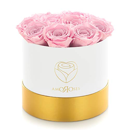 Amoroses 12 Rose Stabilizzate Vere durano Anni - Idea Regalo per Lei Originale Elegante Bouquet per San Valentino e Altre Occasioni Speciali (Scatola Bianca con Rose Rosse)