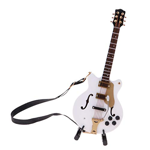 sharprepublic Guitarra Acústica Blanca en Miniatura a Escala 1/8, Guitarra de Madera para Accesorios de Muñecas