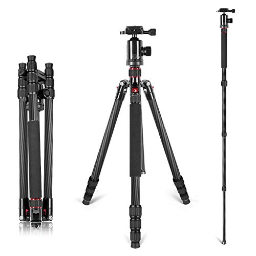 Neewer Carbon Fiber 66 inches/168 centimeters Camera Tripod Monopod with 360 Degree...