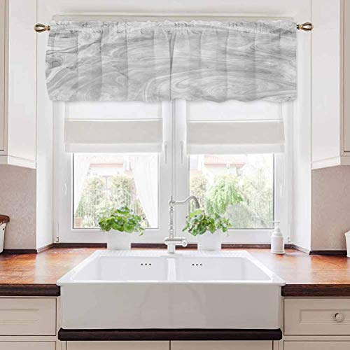 """carmaxs Marble Window Curtain Valance, Traditional Monochromatic Japanese Style Pattern Natural Retro Approach, 60"""" x 18"""", Pale Grey"""