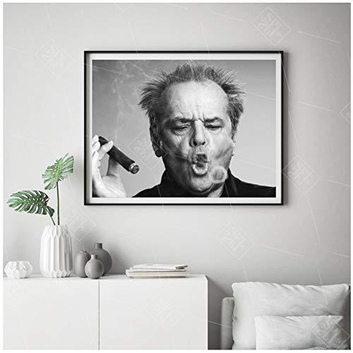 sjkkad Jack Nicholson Zigarre Poster Wand Kunstdruck Bild Schwarz und Weiß Leinwand Gemälde für Wohnzimmer Moderne Dekoration-60x80 cm kein Rahmen
