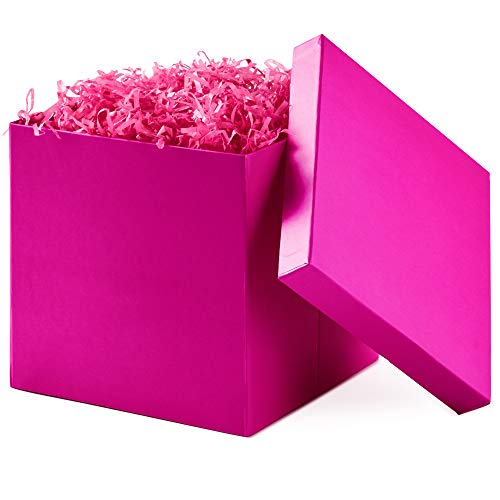 "Hallmark 7"" Gift Box with Lid (Hot Pink) for Birthdays, Bridal Showers, Weddings, Baby Showers and More (Hot Pink)"