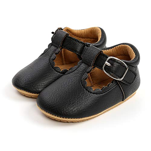 LACOFIA Zapatillas Antideslizantes para bebé niña Zapato Primeros Pasos para bebé Negro 3-6 Meses