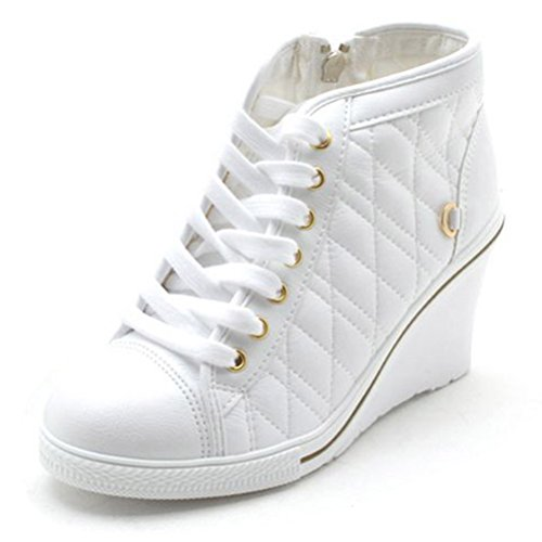 EpicStep Women's High Top Wedges High Heels Lace Up Quilted Casual Fashion Sneakers White 7 M US