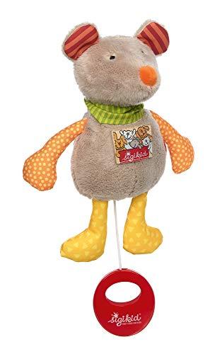 SIGIKID Mädchen und Jungen, Mini-Spieluhr zum Aufziehen, Maus, Babyspielzeug, empfohlen ab 0 Monaten, grau/orange, 42486
