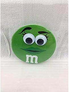 M&M's エムアンドエムズ (グリーン) キョロキョロ缶バッジ チョコレート アメリカ雑貨 アメ雑 アメリカン雑貨