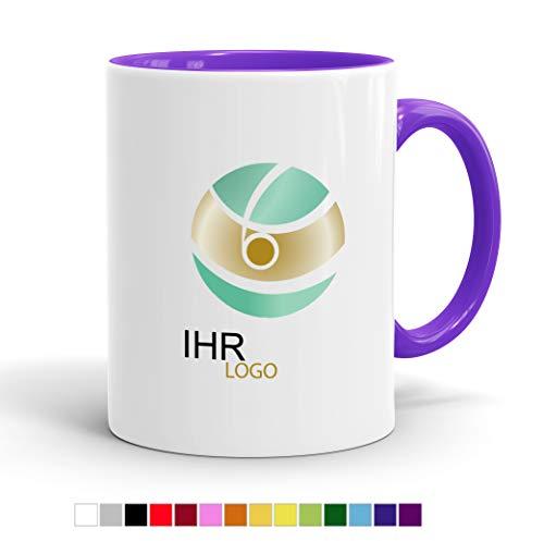 Tasse mit Ihrem Logo Bedrucken - Werbe-Tasse mit Wunsch-Motiv - Digitaldruck Staffelpreise - Spülmaschinenfest (Innen lila)
