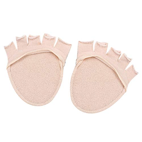 SM SunniMix Invisible Liner No Show Five Toe Calcetines de Medio Pie con Parte Inferior Antideslizante - Beige, Única