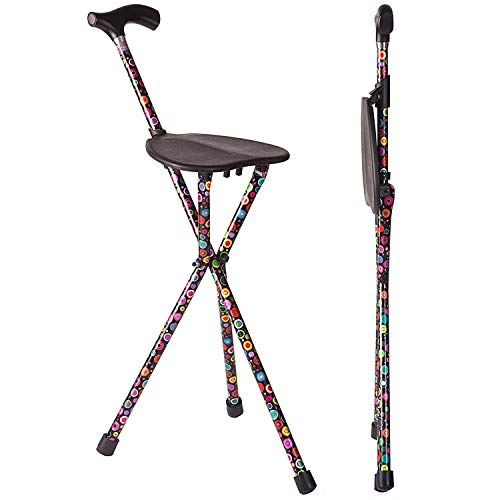 Switch Sticks Aluminum Folding Walking Cane with Seat and Walking Stick, 34 Inches Tall, Supports up to 220 Pounds, Bubbles