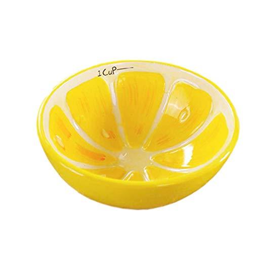 Cuenco de cerámica de 5 pulgadas para cereales, frutas, postres y arroz para niños YXF99 (color de limón)