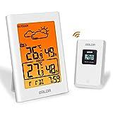 ESOLOM Station météo sans Fil, Thermomètre Hygromètre Intérieure Extérieure Baromètre avec capteur à distance LED Ecran Rétro-éclairage Horloge Numérique Alarme et prévisions météo -Blanc