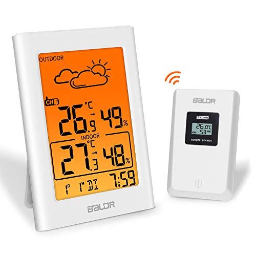 Esolom - Termometro Digitale igrometro con sensore Esterno, B0341 misuratore di Temperatura Interna ed Esterna con retroilluminazione a LED Arancione per Serre da Camera dei Bambini