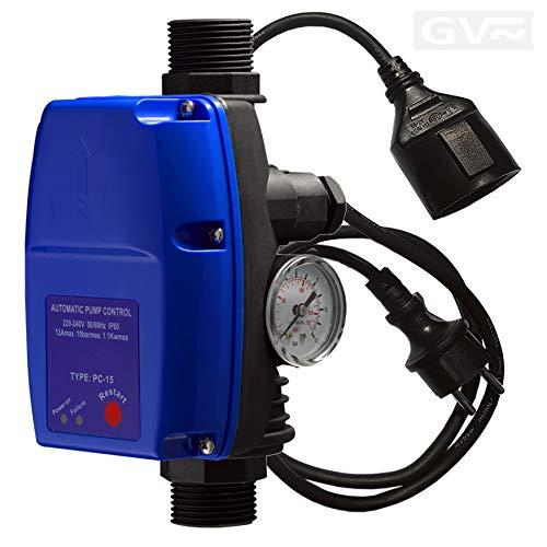 GV Pumpentechnik Pumpensteuerung PC-15 mit einstellbarem Einschaltdruck, Trockenlaufschutz, integriertem Rückschlagventil und Manometer für Pumpen bis 10 bar und 1,1kW, vollständig verkabelt