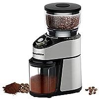 bonsenkitchen macinacaffè elettrico in acciaio inox, macinino caffe con 230g di chicchi, grado di macinatura + numero di tazze regolabile, protezione aroma, 200w