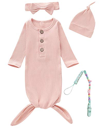 MoryGooder Newborn Cotton Nightgowns Neutral Baby Knotted Sleeper Baby Coming Home Outfit with Pacifier Clip (Pink,0-6 Months)
