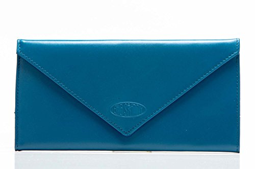 Big Skinny Women's Slimvelope Leather Tri-Fold Checkbook Slim Wallet, Holds Up to 40 Cards, Ocean Blue