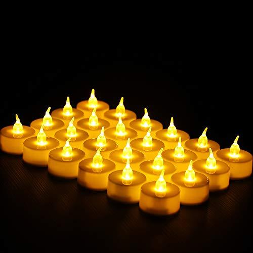 Shanke 24 Velas led Sin Fuego, Velas Electrónicas sin Flama con Baterías Decoración para Navidad, San Valentín, Cumpleaños, Fiestas, Boda, Festivales, interior al aire libre, Luz Amarilla
